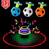 PROLOSO Spinning Top LED Toys Light Up Rotary Desktop Football Gyro 12 Pcs