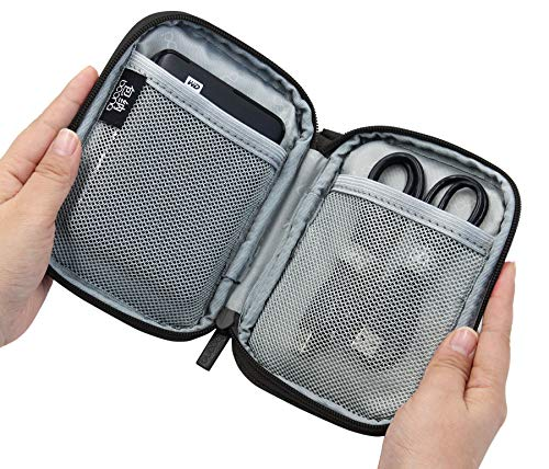 BOONA Large Double Layer Black Shockproof External Hard Drive Carrying Case for 25 inch WD Western Digital and USB Cable
