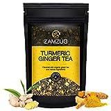 ZAMZUG TEA ,Turmeric Ginger Tea|Made with 100% Whole Leaf | Turmeric, Ginger Roots, Lemongrass, Licorice, Orange Peel, Lemon Peel and Premium Green Tea|~Makes 50 Cups
