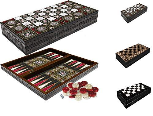 CasaXXl Backgammon Tavla / Dame Koffer Spiel Set Brettspiel - Klassisches Strategiespiel mit 2 in 1 Spielbrett zum Aufklappen