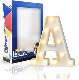 DON LETRA Letras Luminosas Decorativas, Decoración para el Hogar, Luces LED, Letras del Alfabeto A-Z, Altura de 22cm, Color Blanco - Letra A
