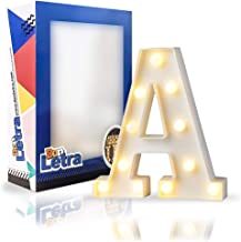 DON LETRA Letras Luminosas Decorativas, Decoración para el Hogar, Luces LED, Letras del Alfabeto A-Z, Altura de 22cm, Color Blanco - Letra A