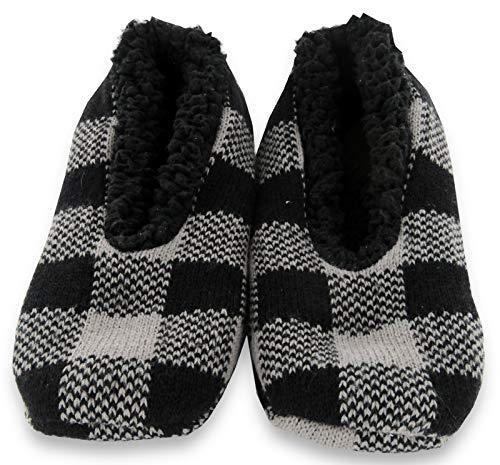 Calcetines Zapatillas de Hombre, Agilis Soft Step Technology con Planta de Memory Foam (Black Grey Checker, 43)