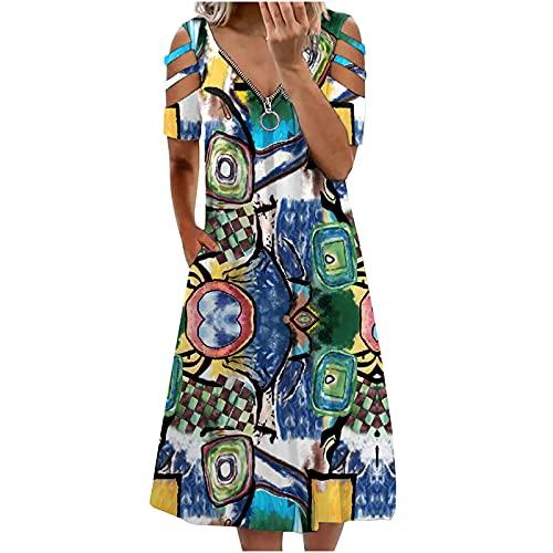 AMhomely Vestidos de mujer Venta Promoción Liquidación Señoras Casual V-cuello Impreso cremallera manga corta fuera del hombro vestido de fiesta de tamaño Reino Unido vestido elegante
