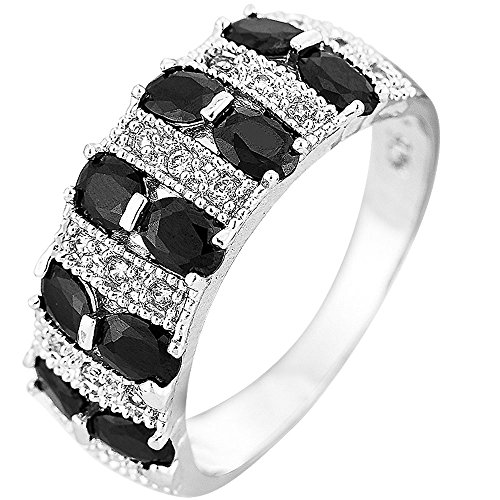 XAHH Jewelry 925 Sterling Silver Plated Black Cubic Zirconia CZ Eternity Wedding Ring for Girl Women 10