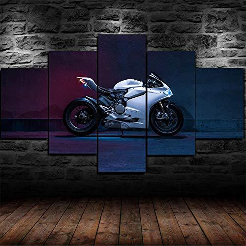 CVBGF 5 Teilig Leinwandbilder Bild auf Leinwand/Ducati Panigale 1199s Sportbike/Vlies Wandbild Kunstdruck Wanddeko Wand Kunstdruck Malerei, Mit Rahmen-Größe:M/W=150Cm,H=80Cm