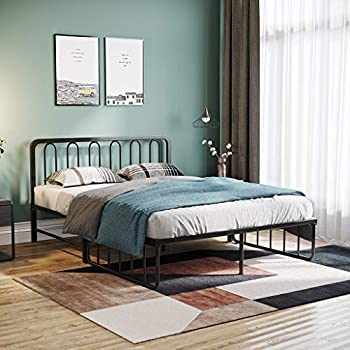 Aimik Foldable Iron Metal Daybed Bed Frame with Headboard