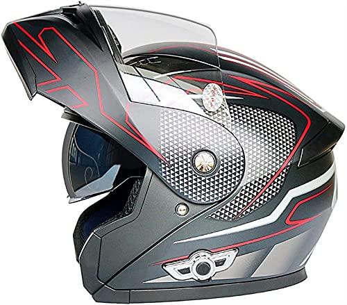 YCRCTC Bluetooth Integrado Modular Casco Moto con Visera Doble Antivaho,ECE Homologado Transpirable y cálido Casco de Motocicleta Mujer Hombre Adultos Cuatro Estaciones (Color : B, Size : XL)