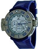 Adee Kaye #AK8006-MIPG Men's Grey IP Resin Band Dual Time Chrongraph Watch