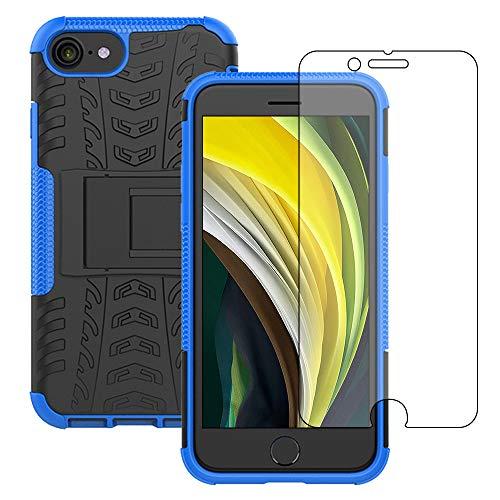 Yiakeng Cover iPhone SE 2020/iPhone 7/8 + Proteggi Schermo, Antiurto Protezione Silicone con Kickstand Rugged Custodia Case per iPhone SE 2020/iPhone 7/8-4.7' (Blu)