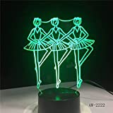 Three Ballet Dancercat Party 3D Illusions Optiques Veilleuse Suitable For Boys And Girls Bedroom Bar Living Room Birthday Christmas Gifts Usb Charging Touch Mode 7 Color Variations