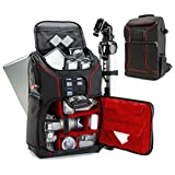 USA GEAR DSLR Camera Backpack Case (Red) - 15.6 inch Laptop Compartment, Padded Custom Dividers, Tripod Holder, Rain Cover, Long-Lasting Durability and Storage Pockets - Compatible with Many DSLRs