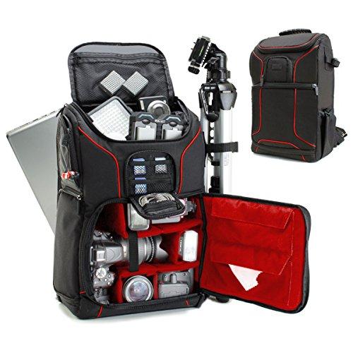 USA GEAR Mochila Completa para Cámara DSLR, Funda Resistente al Agua Compartimento para Portátil y divisores para Meter un Tripode, Objetivos, Compatible con Canon, Nikon, Sony y Muchas más - Rojo