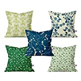 Crazy Corner Spiral Leaves Printed Cushion Cover Set of 5 (12 X 12 Inches) - Decorative Satine Cushion Covers for Bedroom/Living Room/Sofa/Chairs (Multicolor)