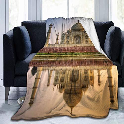 Perfect household goods Manta de forro polar de 127 x 152 cm - Taj Mahal River Mausoleum Home franela suave cálida manta de felpa para cama/sofá/oficina/camping