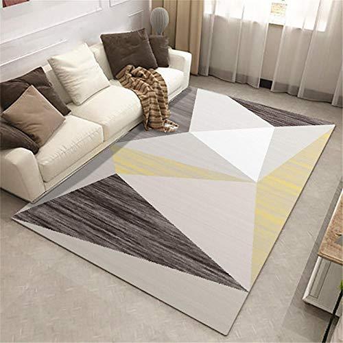 La Alfombra Tacto Suave Diseño Moderno Mesa de Centro alfombras Alfombra de Sala de Estar con patrón de triángulo geométrico Simple Gris marrón Amarillo Piso Antiadherente Alfombra 100*120cm