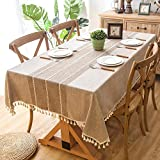 Melaluxe Stitching Tassel Tablecloth Heavy Weight Cotton Linen Fabric Dust-Proof Table Cover