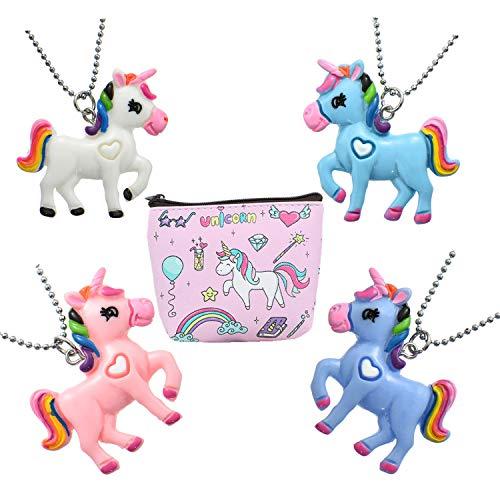 FSMILING 4 Packung Einzigartig Pferd Einhorn Halskette Set mit Geldbörse für Kinder Damen Mädchen
