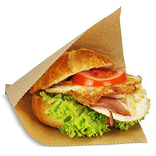 1000 Snacktaschen/Hamburgertaschen, 2-seitig offen, 16x15cm, groß, Kraftpapier - braun