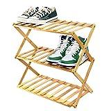 Achirp Zapatero portátil, plegable, almacenamiento de zapatos integrado, organizador de zapatos de bambú, adecuado para pasillo, sala de estar, baño, dormitorio y pasillo (marrón, 3 niveles)
