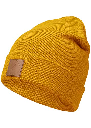 Occulto Leatherpatch Winter Mütze Beanie (Pantone-Yellow)