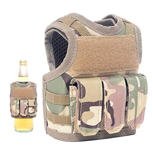 Lightbare Mini Tactical Vest Bottle Beer Vest Molle with Adjustable Straps, Beverage Holder for 12oz or 16oz Cans and Bottles, 7 Colors (CP Camo with Pockets)