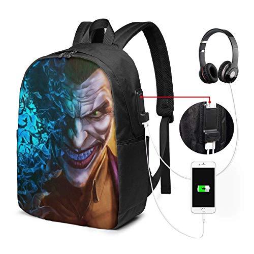 Lawenp Mochila para portátil The Joker Clown, con Puerto de Carga USB/Mochilas Impermeables Informales y Elegantes para la mayoría de Las computadoras portátiles y tabletas de 17/15,6 Pulgadas/p