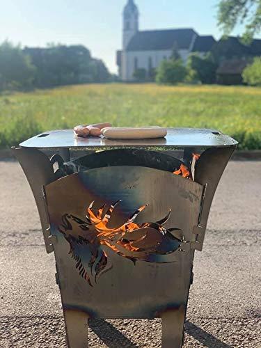 Terma Feuerkorb/Feuerschale mit Feuerplatte Hirsch röhrend sehr Massive Ausführung, Feuerplatte 69x69cm und Aufsatzhalterung, Grillplatte,