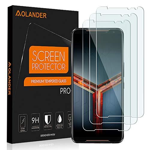AOLANDER Compatibile with ASUS ROG Phone 2 Protector de Pantalla Cristal Vidrio Templado, 9H Dureza [2.5D , 0.3mm] [Anti Arañazos] [Alta Definicion] [Sin Burbujas] Protector [3 Pack]