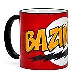 Elbenwald Big Bang Theory - Tazza con Scritta «Bazinga» - Sheldon - Ceramica - Rosso