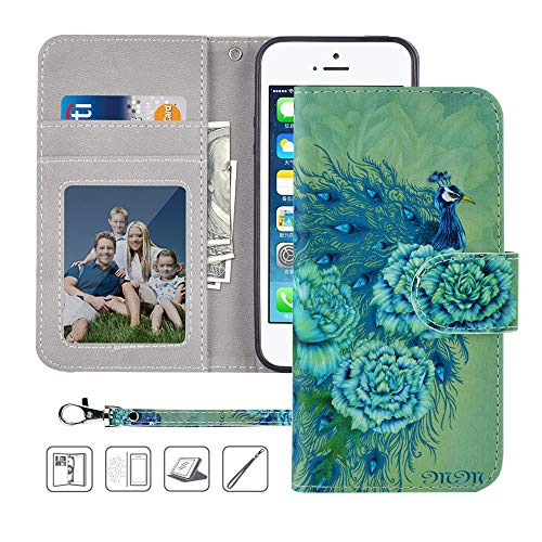 mollycoocle iphone case 5s iPhone 5 Case,iPhone 5S Case,iPhone SE Case,MagicSky Wallet Case PU Leather Flip Folio Case Cover with Wrist Strap,Card Holder,Cash Pocket,Kickstand for Apple iPhone 5S/5/SE,Green Peacock