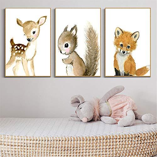 LucaSng 3er Set Poster Kinderzimmer Deko - Bilder Babyzimmer DIN A4 - Wandbilder Kinderbilder Babyzimmer Babybilder (B)