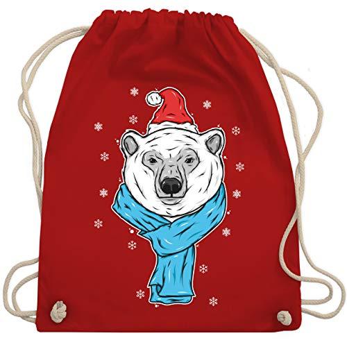 Weihnachten & Silvester - Eisbär mit Mütze und Schal - Unisize - Rot - gym schäler - WM110 - Turnbeutel und Stoffbeutel aus Baumwolle