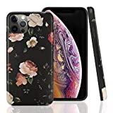 Wingcases Compatible with iPhone 12 Pro Max Case 6.7 inch, Black White Rose Flower Fashion Cute Floral Design Ultra Thin Matte Soft Silicone Protective Cell Phone Cover for Girl Women