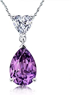 Necklace Jewelry Drop Shape 2.6 Carats Amethyst Pendant Necklace 925 Sterling Silver Pendant Necklace 18'', Jewelry For Wo...