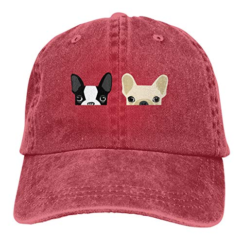 WM-FQ Boston Terrier and French Bulldog Unisex Adjustable Yarn-Dyed Denim Baseball Cap Hip Hop Hats