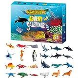 Fangteke Calendario Adviento de Juguete 24 Piezas de Juguete de Animales Marinos Regalo Sorpresa de Cuenta Regresiva de Navidad para Niños Y Niñas