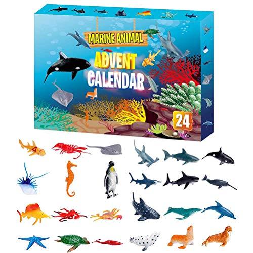 YEKKU Adventskalender Spielzeug, 24PCS Meerestierspielzeug Simulierte Mini-Tiermodell Kinder Marine Life Learning Toy Christmas Countdown Überraschungs-Geschenk für Kinder Jungen und Mädchen