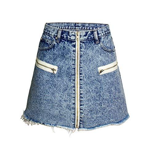 Spijkerrok voor dames Summer Ladies Zipper openen en sluiten hoge taille A-lijn rok Spijkerrok Rok (Color : Blue, Size : XL)