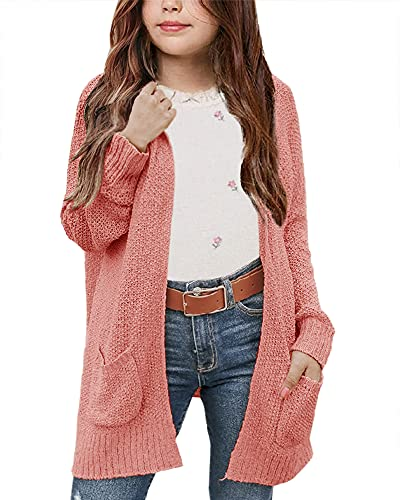 Girls Hooded Cardigan Sweaters Open Front Long Sleeve Causal Solid Loose Jumper Tops with Pockets Size 5-14 Brick Red