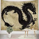 LB Wandteppich Schwarzer Drache Wandtuch Chinesischer Altes