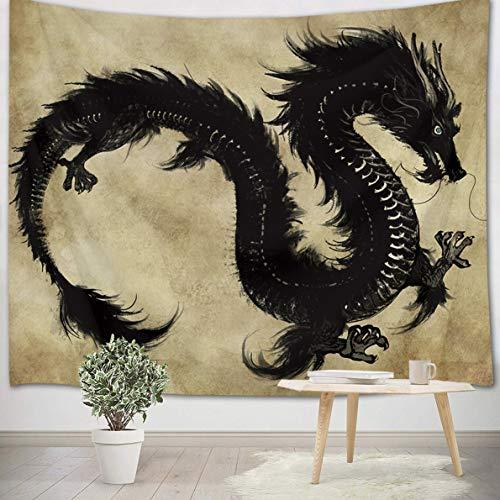 LB 150x130cm Tapiz de Pared Dragón Negro Colgar de Pared Animal Legendario Antiguo Tela Pared Estilo Chino Tapices para Sala Dormitorio Decoración Pared