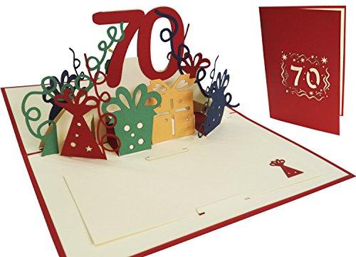 Lin Pop Up de tarjetas de felicitación por 70cumpleaños, tarjetas de cumpleaños tarjetas de felicitación Tarjetas de felicitación Cumpleaños