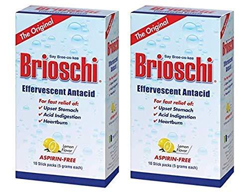Brioschi Lemon Flavored Effervescent 10 Stick Packs, 5 Grams Each (Pack of 2)