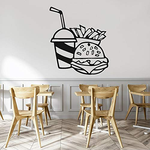 Burger Coke Papas fritas Comida rápida Etiqueta de la pared Restaurante Calcomanía Decoración Fondo de pared Papel autoadhesivo A8 47x42cm
