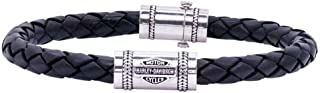 Men's Leather Silver Bar & Shield Rope Bracelet, Black HDB0376