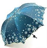 ZPF ParaguasHermoso Brillo Reflexivo Flor De Las Mujeres Flor del Paraguas Princesa Chica Paraguas Florales Parasol UV PlegableNuevo Pavo Real Azul