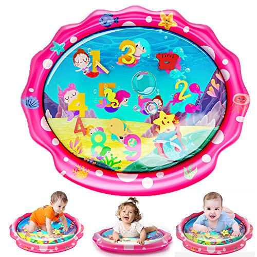SEETOYS Tummy Time Baby Mermaid Water Mat,Inflatable Baby Play Activity Center for Baby Toys 3 to 12 Months Baby