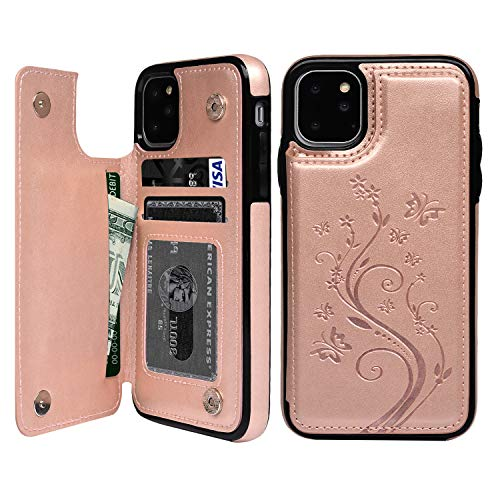iPhone 11 Pro Max Wallet Case, Case with Card Holder Embossed Butterfly Premium PU Leather Double Magnetic Buttons Flip Shockproof Protective Cover for iPhone 11 Pro Max 6.5 inch, Rose Gold