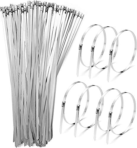 CASADIN 100 Piezas Bridas de Cable de Acero Inoxidable, 4.6* 200mm Bridas Metalicas Cable Bridas Sujetacables para Tubos Abrazadera Cable